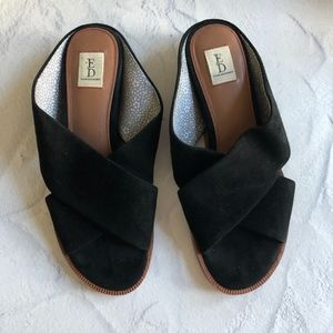 Ellen Degeneres Black Treya Leather Slides 7